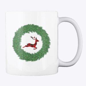 Merry Plaid Reindeer Mug