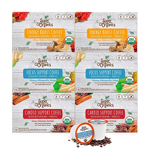 Super Organics Coffee Variety Pack Enhanced with Superfoods & Probiotics