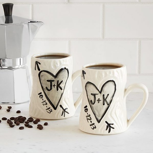 Personalized Porcelain Faux Bois Mug Set eCoffee Finder